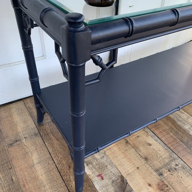 Navy Blue Thomasville Allegro Console Sofa Table Painted Navy For Sale - Image 8 of 11