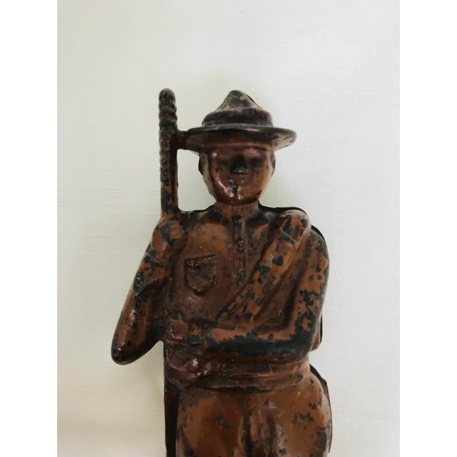 Cast Iron Antique Cast Iron Boy Scout Coin Bank For Sale - Image 7 of 11