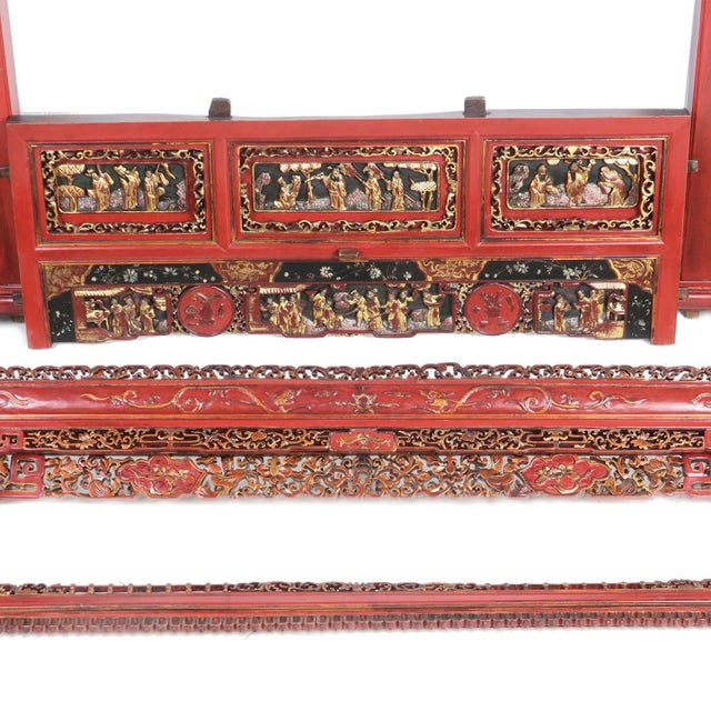 Chinese Opium Wedding Bed Intricately Carved Panel For Sale - Image 10 of 13