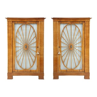 Swedish Biedermeier Fruitwood Cabinets - a Pair For Sale