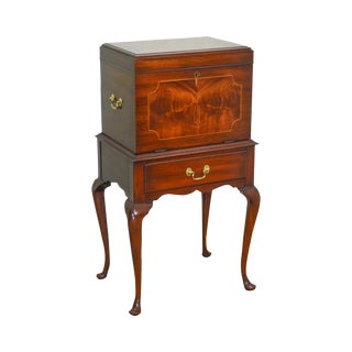 Henkel Harris Mahogany Inlaid Queen Anne Silver Chest