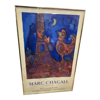 1972 Vintage Marc Chagall Exhibition Lithograph For Sale