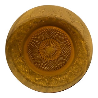 Vintage Ornate Amber Decorative Plate For Sale