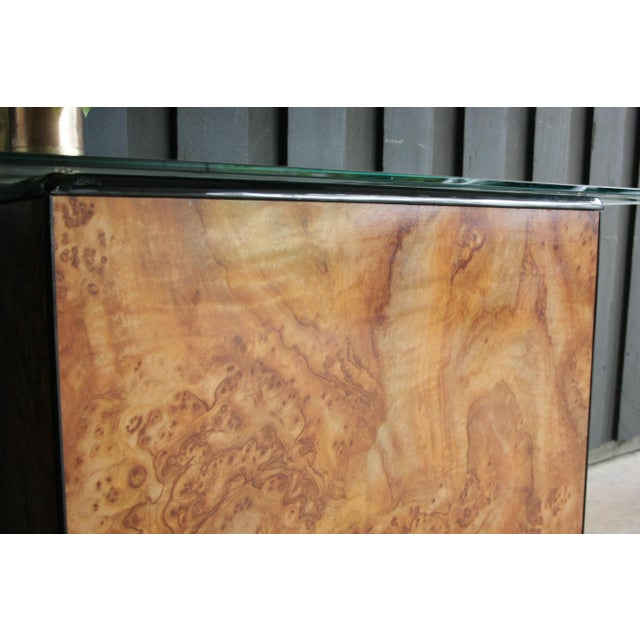 Glass 1980s Contemporary Faux Birdseye Maple Burl Console Table For Sale - Image 7 of 13