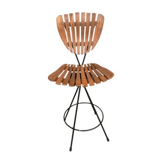 Arthur Umanoff Style Slate Bar Stool W/ Black Wrought Iron Base For Sale