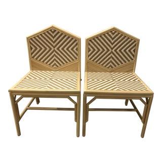 Justina Rattan Dining Chairs - A Pair For Sale