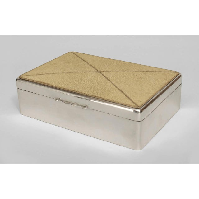 Art Deco English Art Deco Shagreen and Sterling Silver Box For Sale - Image 3 of 3