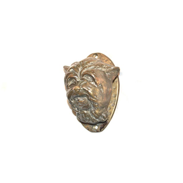 Solid bronze door knocker featuring a Cairn Terrier. Good patina. Works well. Mounting screws included. Weighty and...