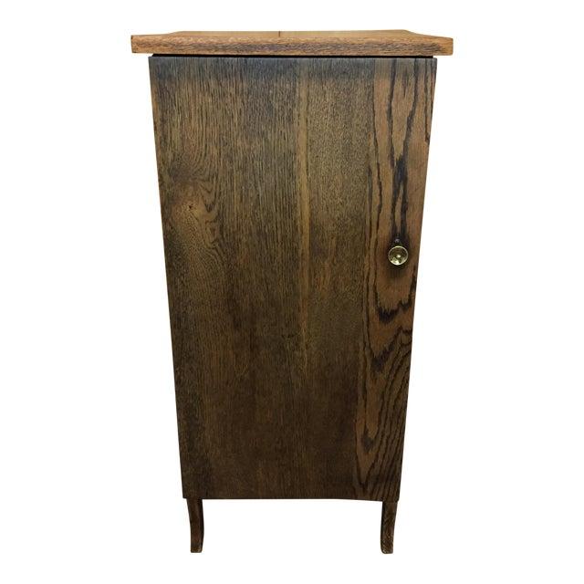 Vintage Oak Record Cabinet For Sale