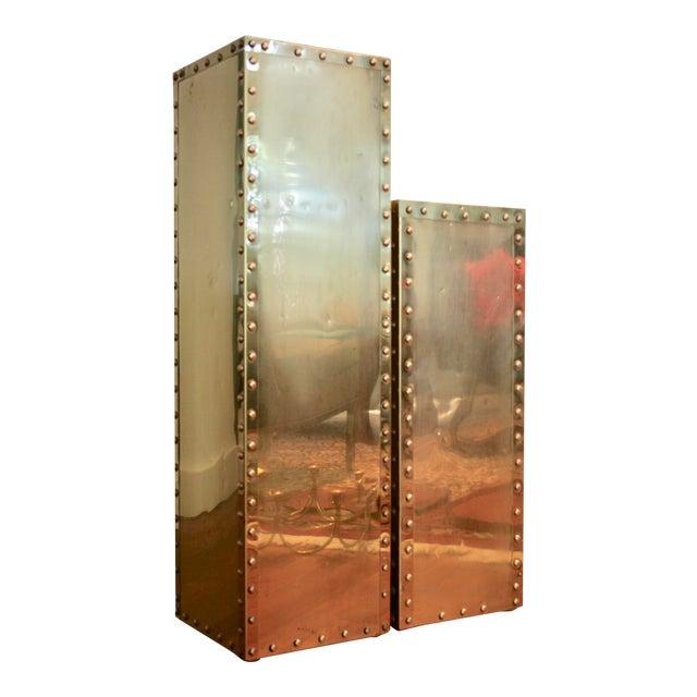 Sarreid-Style Brass Studded Pedestal (Smaller Pedestal Only) - Image 1 of 11