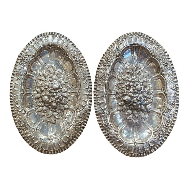 Pair of 19th Century French Repousse Silver Oval Wall Plaques For Sale