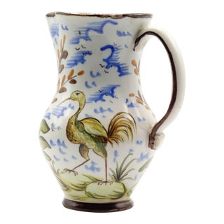French Faience Pitcher With Bird For Sale