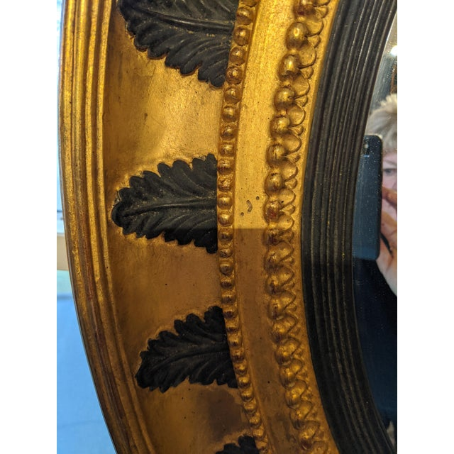 Round Regency Black and Gold Mirror For Sale - Image 9 of 10