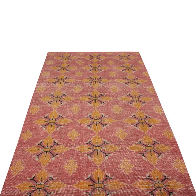 Islamic Vintage Mid-Century Pink and Gold Wool Rug-4′3″ × 7′7″ For Sale - Image 3 of 9