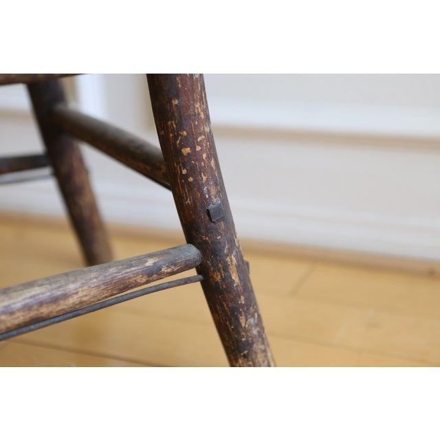 Antique American Primitive Accent Wood Chair - Image 9 of 9
