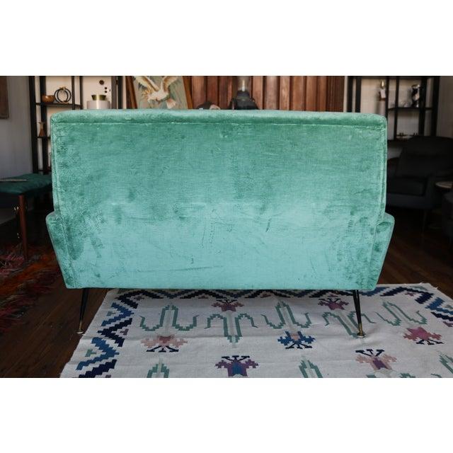 Mid-Century Italian Aqua Velvet Sofa - Image 7 of 7