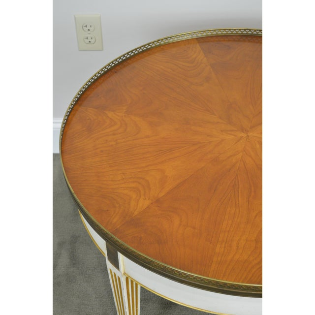 1960s Baker Vintage Regency Directoire Style Round Painted Bouillotte Coffee Table For Sale - Image 5 of 13