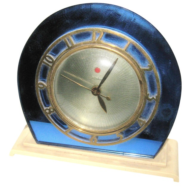 1930s Blue Mirror Telectron Electric Clock - Image 1 of 7
