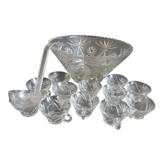 """Anchor Hocking 14"""" Prescut Early American Pressed Glass Punch Bowl Set For Sale"""
