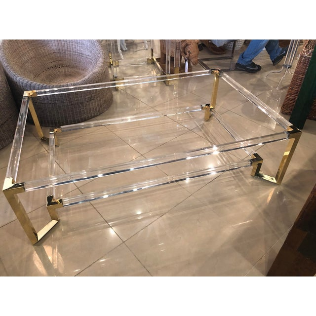 Hollywood Regency Vintage Hollywood Regency Geometric Brass and Lucite Two Tier Glass Cocktail Table For Sale - Image 3 of 12