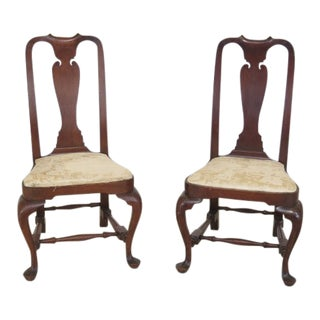 Wallace Nutting Block Signed Walnut Chairs - A Pair