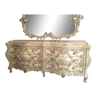 Large Rare Romantic Antique Cream French Rococo Ornate Fancy Bedroom Dresser / Credenza For Sale