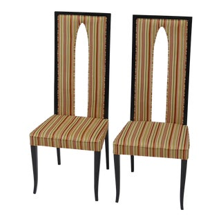 Pair of Italian High Back Sabre Leg Chairs in the Manner of Gio Ponti For Sale