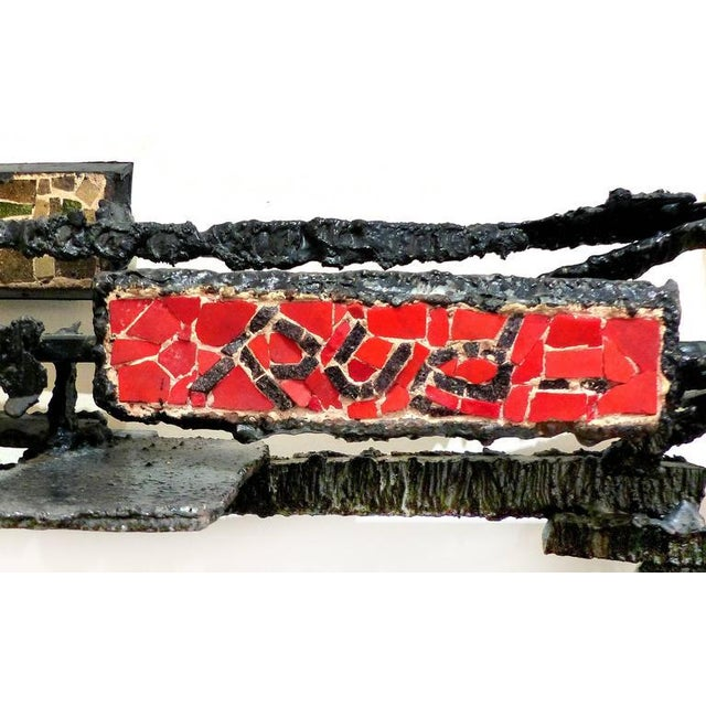 Sign Rue 1920s French Abstract Iron & Mosaic Tile Wall Sculpture - Image 11 of 11