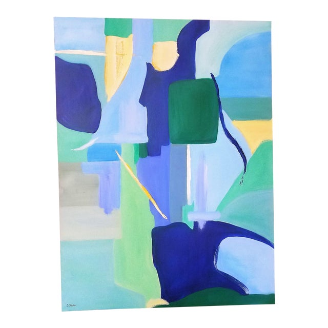 """Christine Frisbee """"Green Door"""" Abstract Painting For Sale"""