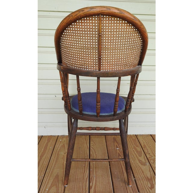 Antique Oak Cane Back Chair For Sale - Image 4 of 10