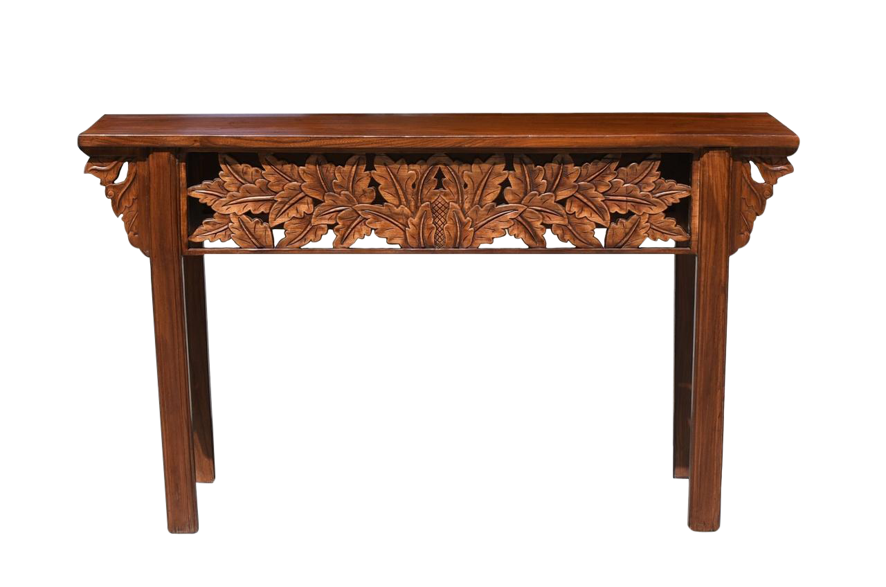 Mid Century Modern Console Table With Foliage Carvings Chairish