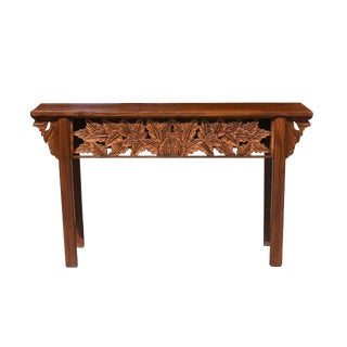 Mid-Century Modern Console Table With Foliage Carvings