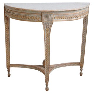 18th Century Swedish Gustavian Period Demi-Lune Console Table in Original Paint For Sale