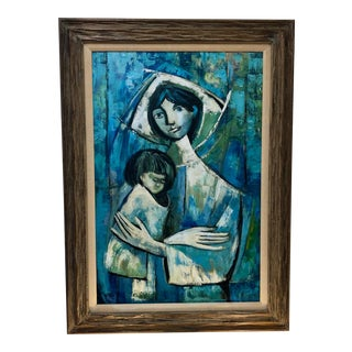 Mid Century Madonna & Child Painting For Sale