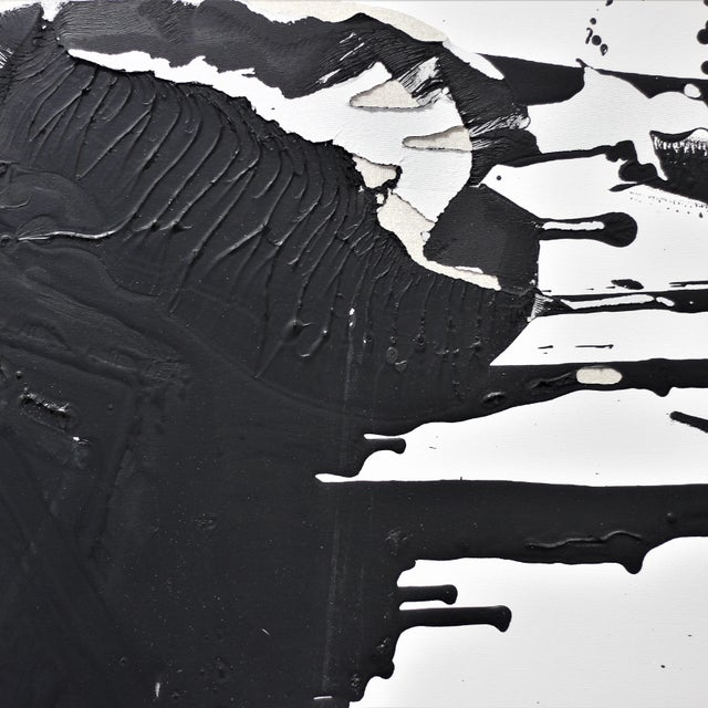 """Original Black and White Textural Painting """"0010"""" by Cole Altuzarra For Sale In Los Angeles - Image 6 of 12"""