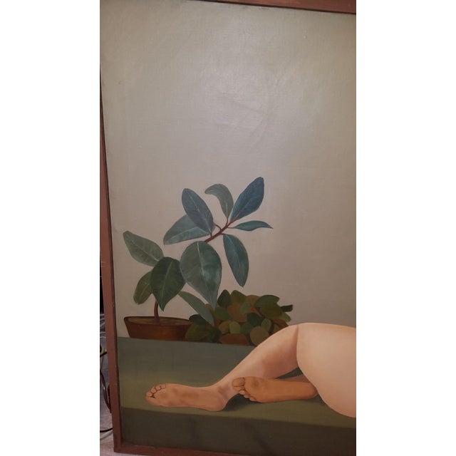 Figurative 1960s Large Original Oil of Seated Female Nude by Philadelphia Listed Artist Eva Martino For Sale - Image 3 of 5