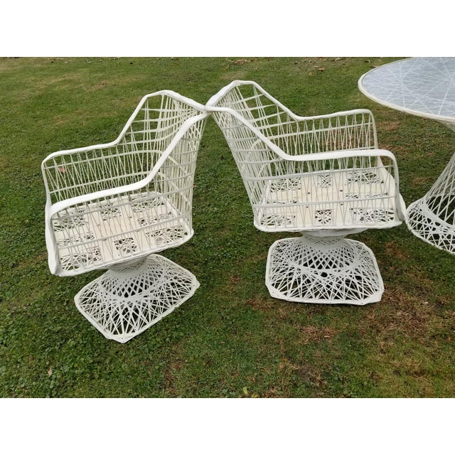 Metal Russell Woodard Spun Swivel Fiberglass Style Chair Table Patio Set 5 Pc For Sale - Image 7 of 11