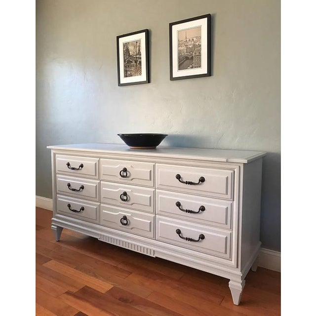 Soft Gray Drexel Mid-Century Dresser Buffet Sideboard - Image 3 of 11
