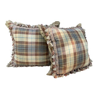 Contemporary Camel & Teal Tartan Pillows- a Pair For Sale