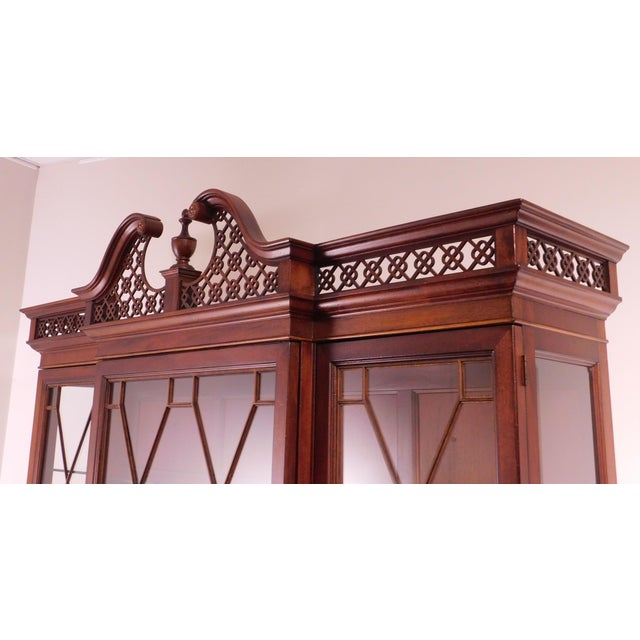 """Wood Lexington """"The Palmer Home Collection"""" Large Mahogany Chippendale Style Breakfront For Sale - Image 7 of 13"""