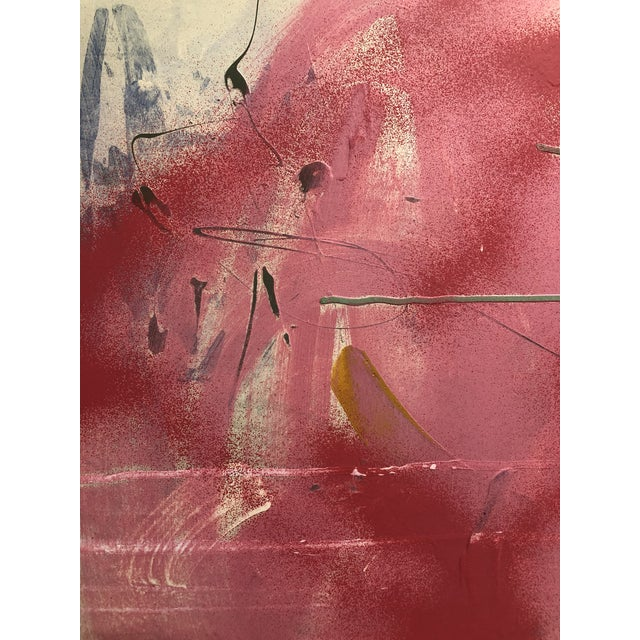 Pink Large Abstract Pink Painting on Panel by Mirtha Moreno For Sale - Image 8 of 11