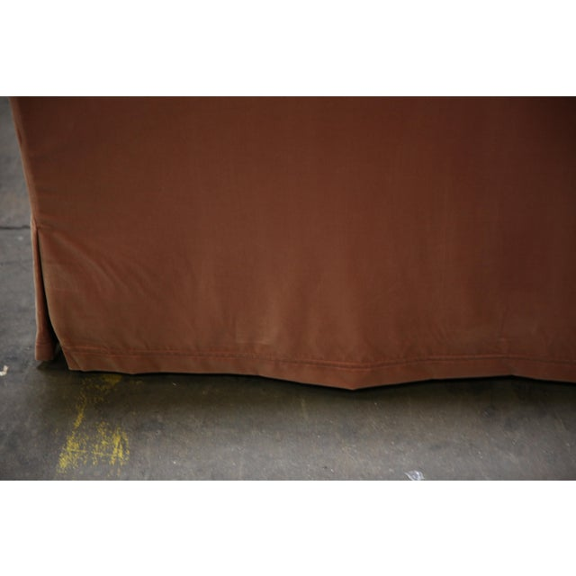 Christian Liaigre Modern Sofa in Pink Velvet with 4 Pillows For Sale - Image 9 of 13