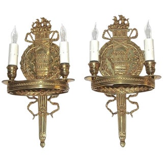 1950s French Empire Style Brass Wall Sconces - a Pair For Sale
