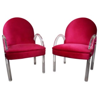Pair of Waterfall Lucite Charles Hollis Jones Chairs For Sale