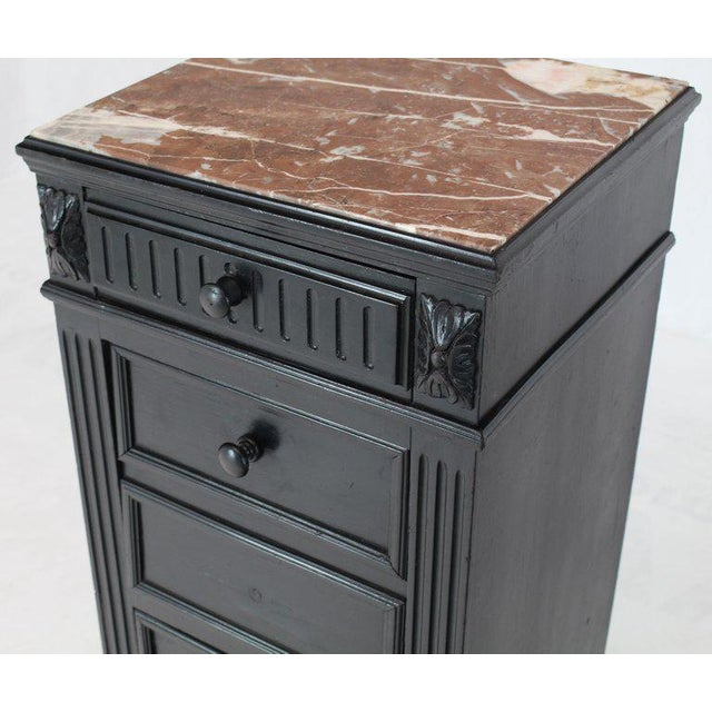 Marble Top Ebonized Black Four Drawers Drop Front Compartment Barber Stand For Sale - Image 10 of 12