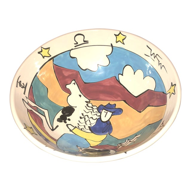Studio Ceramic Cowboy Western Bowl For Sale