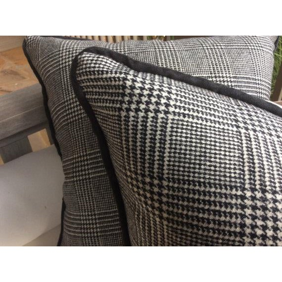 "Contemporary Ralph Lauren ""Hathaway Glen Plaid"" Wool Black & Cream Pillows - a Pair For Sale - Image 3 of 4"