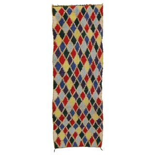 Vintage Mid-Century Berber Moroccan Runner Rug - 4′4″ × 12′7″ For Sale
