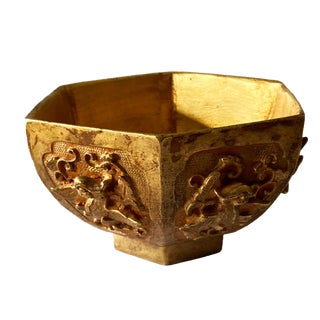 "Museum Quality Chinese Ceremonial Offering Bronze Gilt Bowl 2.25"" H For Sale"