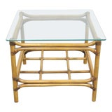 Image of Boho Chic Rattan Glass Top Side Table For Sale